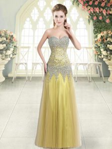 Gold Zipper Sweetheart Beading Prom Evening Gown Tulle Sleeveless
