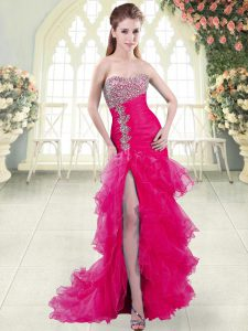 Beading and Ruffled Layers Homecoming Dress Fuchsia Lace Up Sleeveless Brush Train