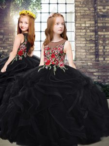 Tulle Scoop Sleeveless Sweep Train Zipper Embroidery and Ruffles Little Girl Pageant Dress in Black