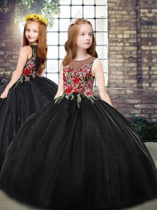 Black Sleeveless Floor Length Embroidery Zipper Little Girls Pageant Dress