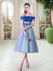 Super Tea Length Blue Prom Dress Off The Shoulder Sleeveless Lace Up