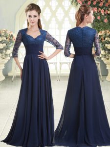 Suitable Sweetheart Long Sleeves Sweep Train Zipper Blue Satin