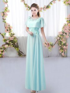 Floor Length Zipper Court Dresses for Sweet 16 Aqua Blue for Prom and Party and Wedding Party with Appliques