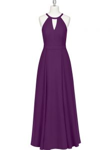 Amazing Floor Length Zipper Prom Dresses Eggplant Purple for Prom and Party with Ruching
