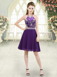 Best Sleeveless Zipper Knee Length Beading
