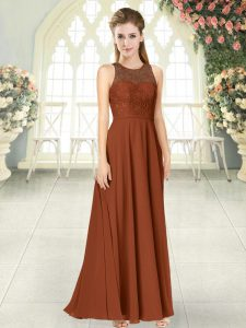 Fantastic Brown Backless Scoop Lace Prom Gown Chiffon Sleeveless