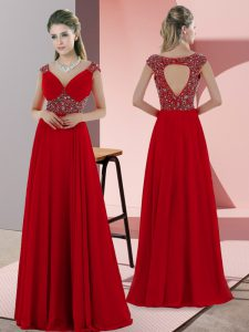 Sweetheart Sleeveless Sweep Train Lace Up Going Out Dresses Red Satin