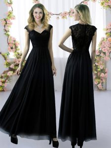 Black Chiffon Zipper V-neck Cap Sleeves Floor Length Quinceanera Court of Honor Dress Lace