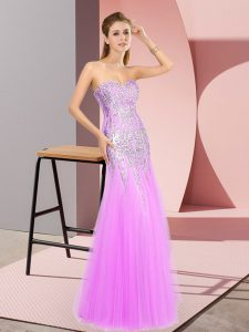 Floor Length Zipper Evening Dress Lilac for Prom and Party with Beading