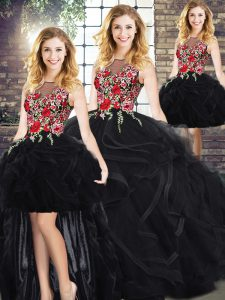 Scoop Sleeveless Zipper Embroidery and Ruffles 15 Quinceanera Dress in Black