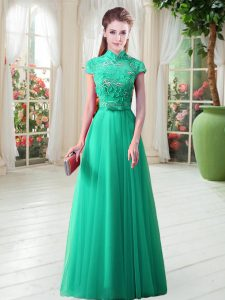 Floor Length Lace Up Prom Dress Green for Prom with Appliques