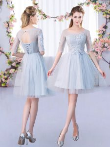 Dazzling Half Sleeves Lace Lace Up Court Dresses for Sweet 16