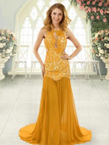 Free and Easy Gold Sleeveless Lace Backless Prom Party Dress
