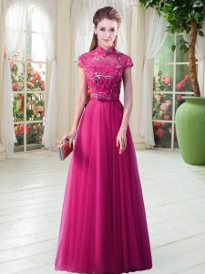 Fantastic Lace Evening Gowns Hot Pink Lace Up Short Sleeves Floor Length