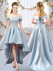 Off The Shoulder Sleeveless Lace Up Court Dresses for Sweet 16 Light Blue Satin