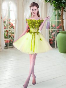 Attractive Yellow Green Tulle Lace Up Off The Shoulder Sleeveless Mini Length Prom Party Dress Beading and Appliques