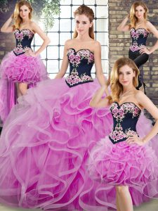 Enchanting Ball Gowns Sleeveless Lilac Sweet 16 Dress Sweep Train Lace Up