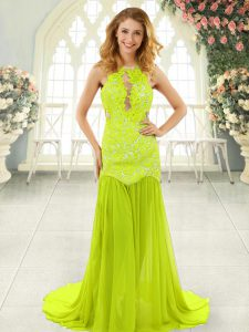 Luxurious Yellow Green Mermaid Chiffon Scoop Sleeveless Lace With Train Backless Evening Dress Brush Train