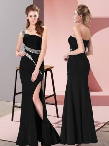 Best Selling Black Prom Dresses Prom and Party and Military Ball with Beading One Shoulder Sleeveless Zipper