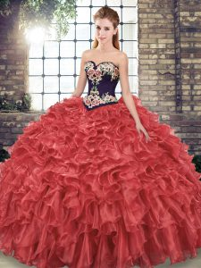 Custom Design Organza Sweetheart Sleeveless Sweep Train Lace Up Embroidery and Ruffles Quince Ball Gowns in Red