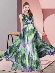 Multi-color Sleeveless Printed Lace Up Evening Dress for Prom and Party