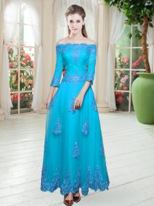 Affordable 3 4 Length Sleeve Lace Lace Up Prom Evening Gown