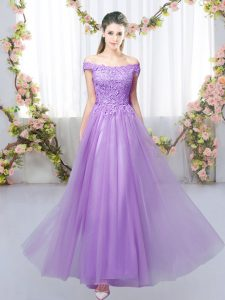 Lavender Lace Up Quinceanera Court Dresses Lace Sleeveless Floor Length