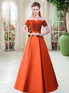 Nice Orange Red Short Sleeves Floor Length Belt Lace Up Prom Gown