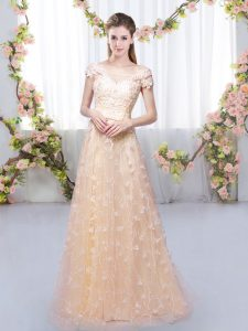 Peach Lace Up Off The Shoulder Appliques Dama Dress for Quinceanera Tulle Cap Sleeves
