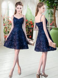 Navy Blue Prom Party Dress Prom and Party with Lace Spaghetti Straps Sleeveless Zipper