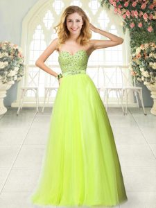Beading Prom Dresses Yellow Green Zipper Sleeveless Floor Length