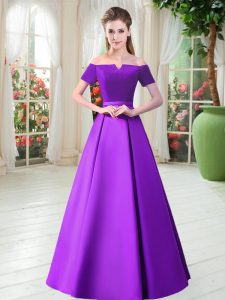 Low Price Purple Lace Up Prom Dress Belt Short Sleeves Floor Length
