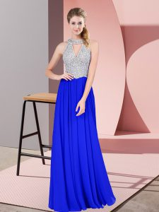 Chiffon Scoop Sleeveless Zipper Beading Homecoming Dress in Royal Blue