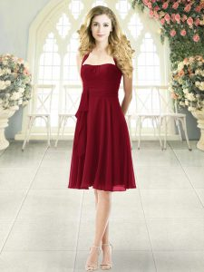 Attractive Burgundy Chiffon Zipper Prom Party Dress Sleeveless Knee Length Ruching