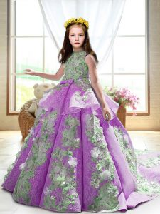 Sleeveless Appliques Backless Pageant Gowns For Girls with Lilac Court Train