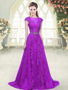 High Quality Cap Sleeves Lace and Appliques and Pick Ups Zipper Prom Dresses with Purple Sweep Train