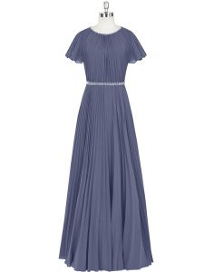 Dazzling Short Sleeves Zipper Floor Length Beading and Pleated Going Out Dresses