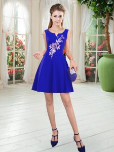 Hot Selling Royal Blue Scoop Neckline Appliques Evening Dress Sleeveless Zipper