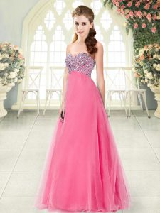 Cheap Hot Pink Sweetheart Lace Up Beading Evening Party Dresses Sleeveless