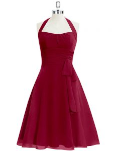 Fantastic Knee Length Zipper Dress for Prom Wine Red for Prom and Party and Military Ball with Ruching