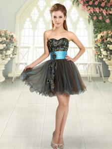 Brown Prom Evening Gown Prom and Party with Beading and Appliques Sweetheart Sleeveless Lace Up