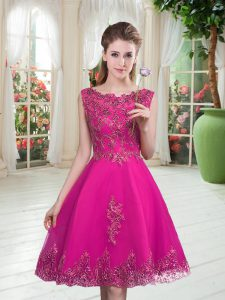 Fantastic Fuchsia Sleeveless Knee Length Beading and Appliques Lace Up Prom Evening Gown