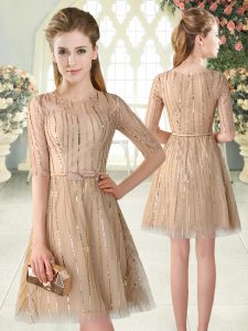 d2a0ee70c74 Exceptional Mini Length Champagne Evening Dress Tulle Half Sleeves Sequins