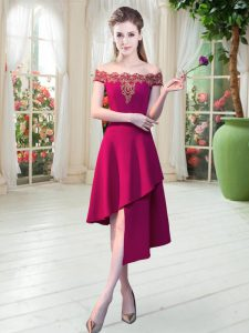 A-line Prom Dresses Wine Red Off The Shoulder Satin Sleeveless Asymmetrical Zipper