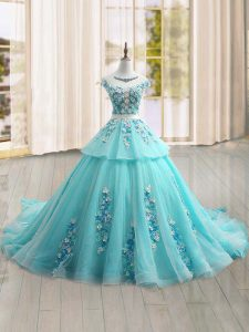 On Sale Cap Sleeves Brush Train Lace Up Appliques Sweet 16 Dresses