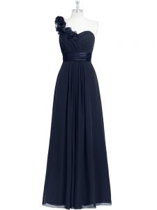 Low Price Floor Length Black Prom Party Dress One Shoulder Sleeveless Zipper