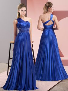 Fantastic Royal Blue Backless One Shoulder Beading and Ruching Formal Evening Gowns Chiffon Sleeveless