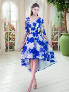 Top Selling High Low Blue And White Lace Half Sleeves Belt