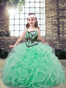 Eye-catching Tulle Sleeveless Floor Length Little Girls Pageant Dress and Embroidery and Ruffles