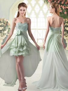Sweetheart Sleeveless Zipper Prom Dresses Apple Green Chiffon